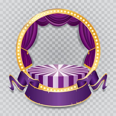 scène de cercle de vecteur avec rideau violet, cadre doré, lampes à incandescence et ombre transparente