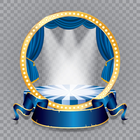 vector circle stage with blue curtain, golden frame, bulb lamps and transparent spots Illustration