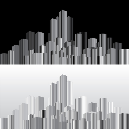 vector abstract cityscape with vertical strips in two variations