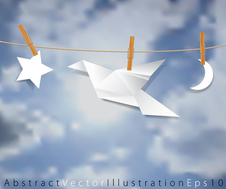 symbolic: vector original symbolic abstract illustration with moon, bird and star on rope