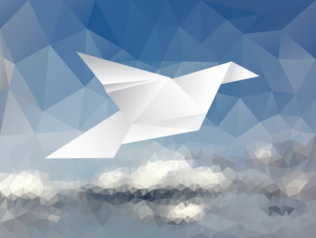 advertisements: vector illustration with paper dove on paper sky, low poly