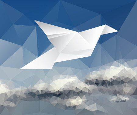 drawing dove: vector illustration with paper dove on paper sky, low poly