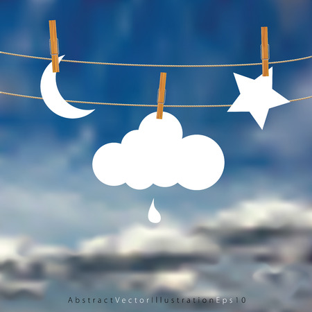 symbolic: vector original symbolic abstract illustration with moon, cloud and star on rope Illustration