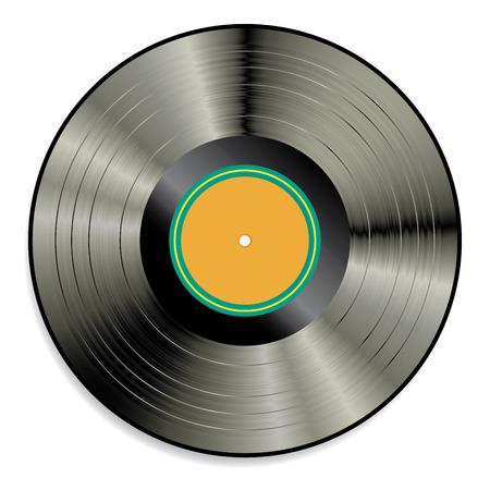 soundtrack: vector blank orange label LP vinyl record