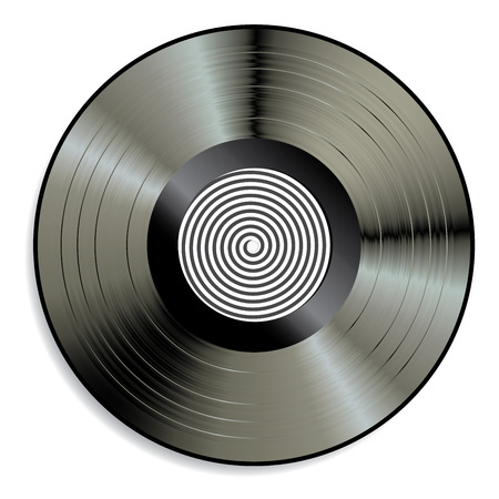 record label: vector LP vinyl record with spiral label Illustration