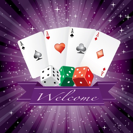 green background: vector dice and cards with banner on purple starry night