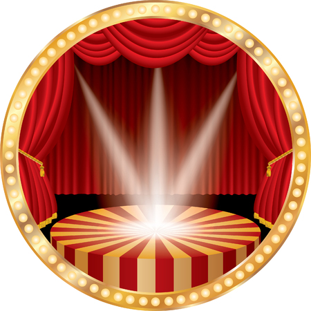 circle stage with red curtain, golden frame, bulb lamps and three transparent spotlights