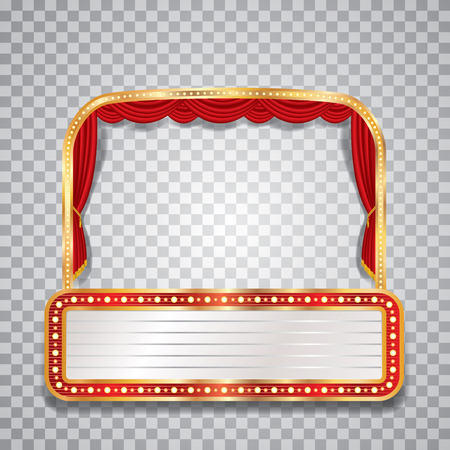 broadway show: stage with red curtain, golden frame, transparent shadow and blank billboard