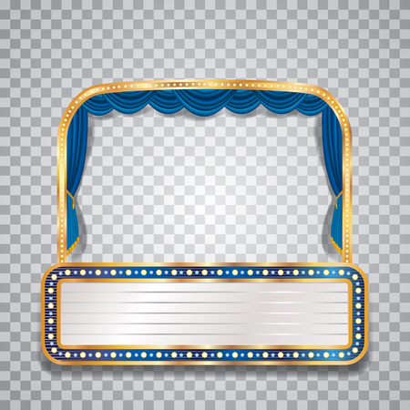 blue bulb: transparent blue velvet stage with bulb lamps and blank billboard