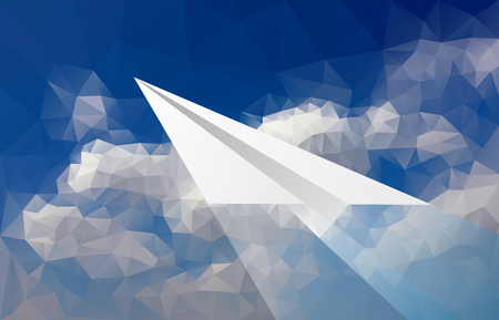 cloudy sky: abstract background with paper plane over low poly cloudy sky