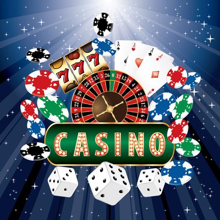 vector casino icons on blue starburst Vector Illustration