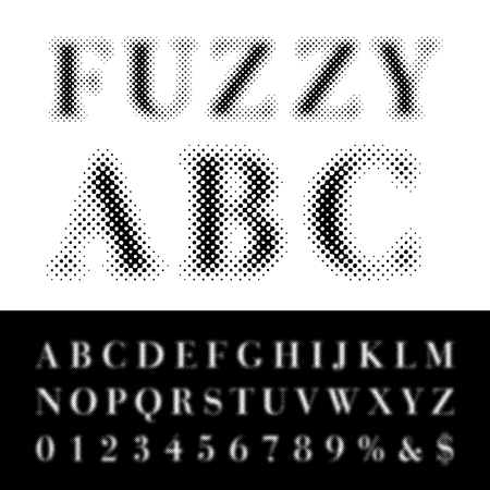 darkly: dotted halftone fuzzy raster font Illustration