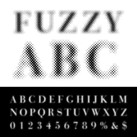 dotted halftone fuzzy raster font Illustration