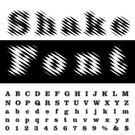 linear raster blurry shaked font Illustration