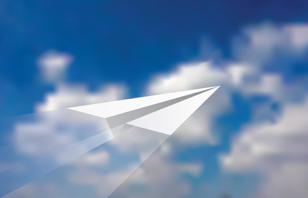 cloudy sky: illustration of the paper plane on cloudy sky Illustration