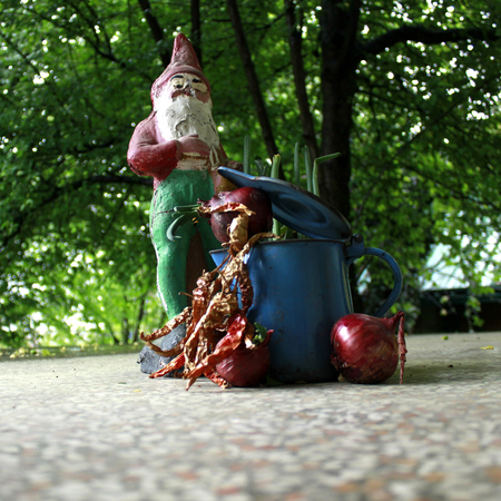 lawn gnome: elf with blue metal teapot Stock Photo