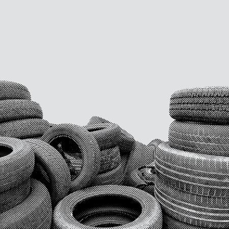 waste heap: old tires in dotted halftone raster Illustration