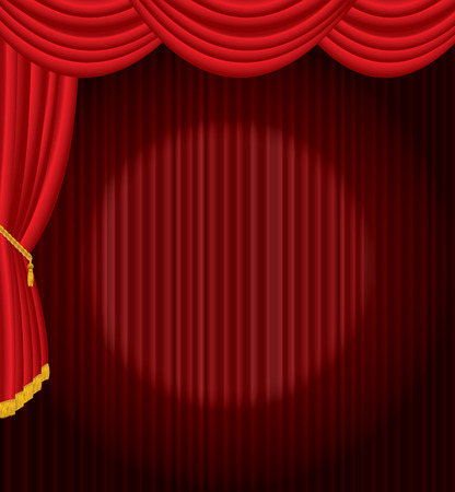 is closed: stage with one circle spot light on red curtain