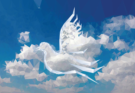 drawing dove: illustration with paper bird on paper sky, low poly