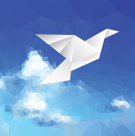 drawing dove: illustration with paper dove on paper sky, low poly