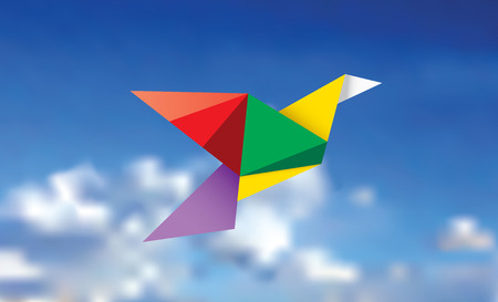 crane origami: illustration of the multicolor paper bird on the cloudy sky