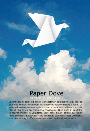 banner of peace: illustration with paper dove on paper sky