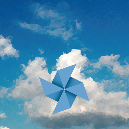 spinning: blue paper windmill over cloud, low poly illustration