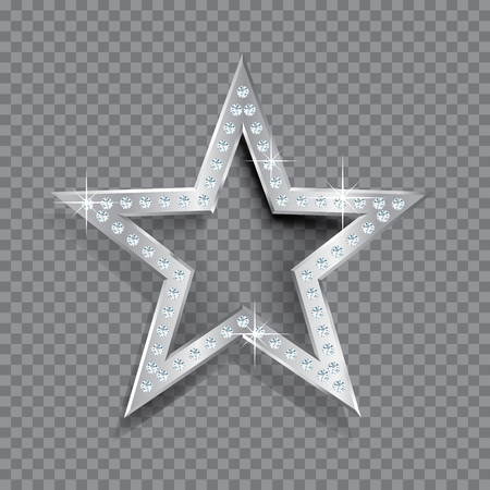 transparent silver star with diamonds, template for cosmetics, show business or something else