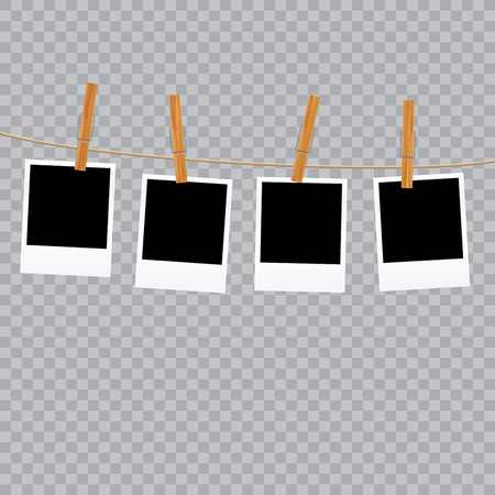 cords: four vintage blank photos on rope