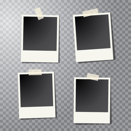 four taped vintage photo frames with transparent shadow