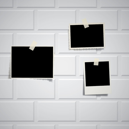 brickwall: vintage blank photos on white brickwall