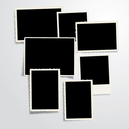 memory board: set of seven vintage blank photo frames with transparent shadow