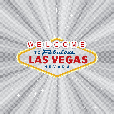 vegas sign: transparent sign of las vegas with stars and burst, layered and fully editable Illustration