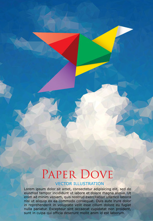 crane origami: illustration with paper dove on paper sky, low poly