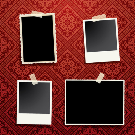 vintage photo: four taped vintage photo frames with transparent shadow on baroque red wallpaper, vintage background, floral wallpaper, Illustration