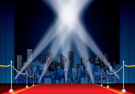 stage with red carpet, night cityscape Illustration