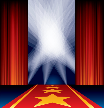 rope way: opened stage, red curtain, stars on red carpet, spotlights on sky