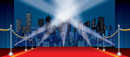 skylines: wide horizontal stage, blue curtain, red carpet, cityscape skylines