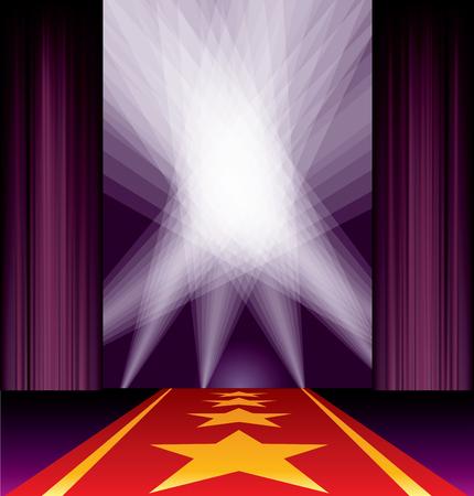 rope way: opened stage, purple curtain, stars on red carpet, spotlights on sky Illustration