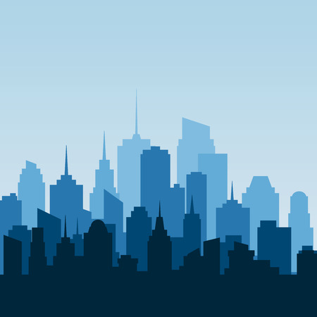city at night: abstract city, cityscape skyscrapers, blue background Illustration