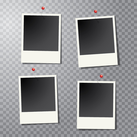 instant photo: four vintage blank instant photo frames with pins and transparent shadow