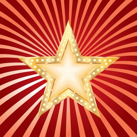 vegas strip: golden red star on grunge burst