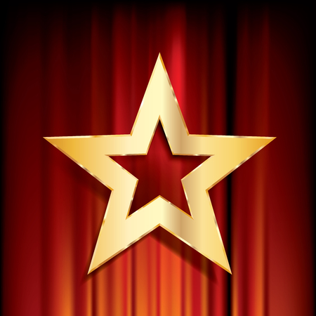 golden star: red curtain with golden star Illustration