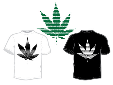 tshirts: leaf of marijuana, black and white, t-shirt design for silkprint