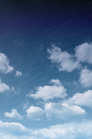 raster: halftone blue and white clouds, vector illustration, linear raster