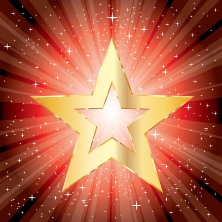 bijou: vector golden star on red star burst