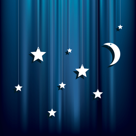 stars  background: hanging paper stars and moon over blue velvet background