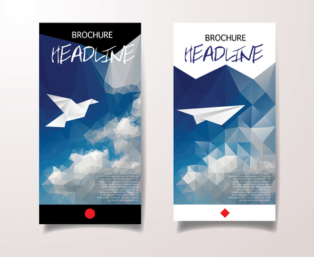 Cover Report Business Colorful Triangle Polygonal Sky Clouds Geometric pattern Design Background Illustration