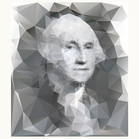 george washington: George Washington portrait from one dollar banknote, low poly illustration