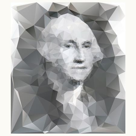 george washington: George Washington portrait from one dollar banknote, low poly illustration